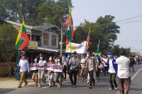 လူစုလူဝေး ခွင့်မပြုသော်လည်း ဝိုင်မော်တွင် စစ်အာဏာရှင်ကို ပြည်သူများက ကန့်ကွက်ဆန္ဒဖော်ထုတ်