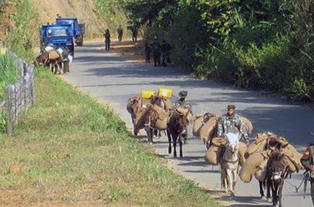 အလော့ဘွမ်တောင်ခြေတွင် အာဏာသိမ်းစစ်တပ်၏ စစ်အင်အားပို့ မြင်းများ ရောက်ရှိနေ