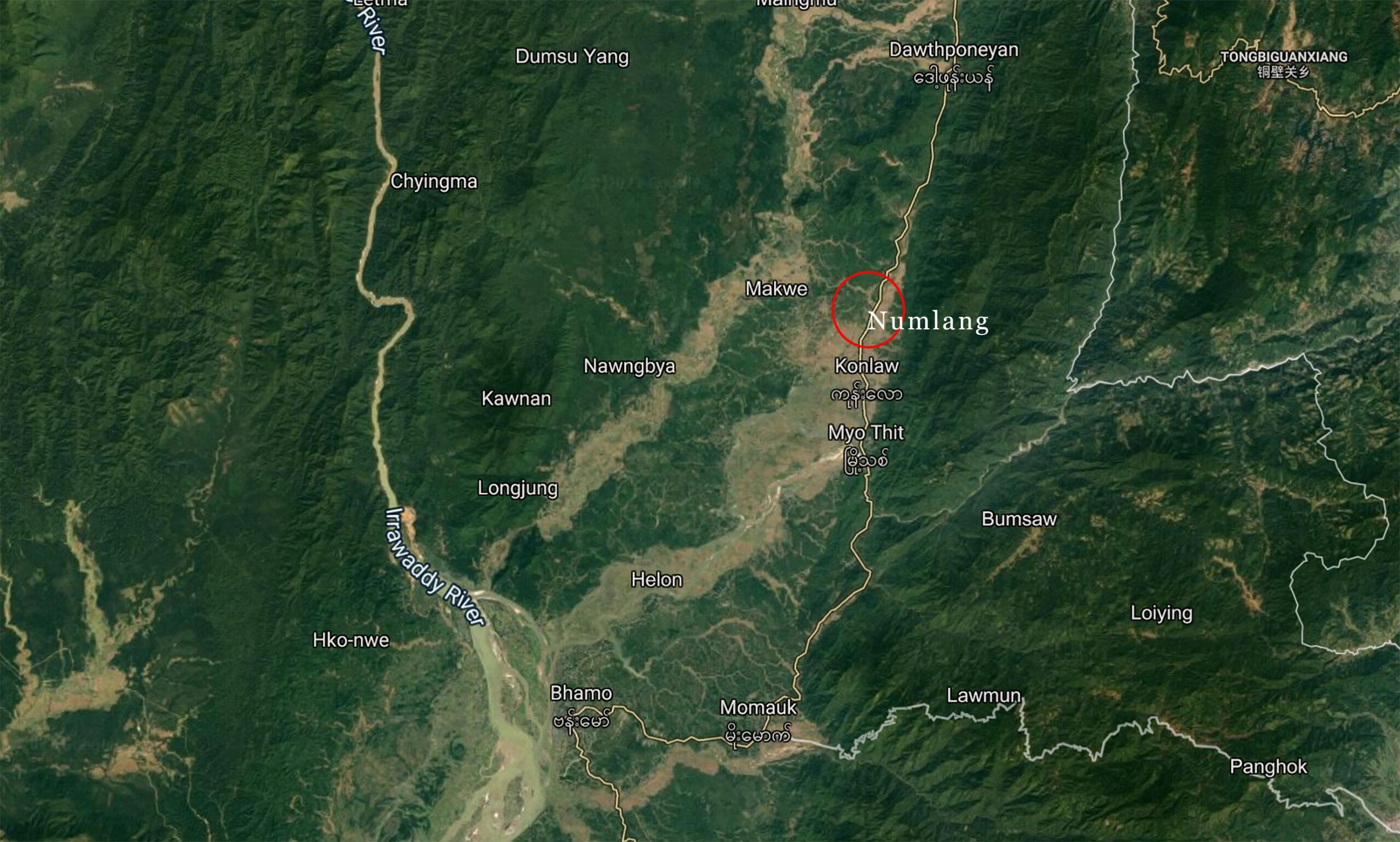 နွမ်းလန့် (Numlang) ကျေးရွာနေအိမ်များသို့ အာဏာသိမ်းစစ်တပ်က လက်နက်ကြီးပစ်ခတ်